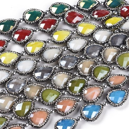 Electroplate Glass Beads Strands, with Rhinestone, Faceted, Drop