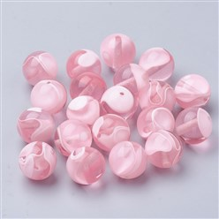 Pink Cellulose Acetate(Resin) Beads, Round, Pink, 14mm, Hole: 2mm