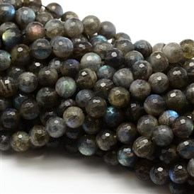 Natural Labradorite Round Bead Strands, Faceted, Grade AAA