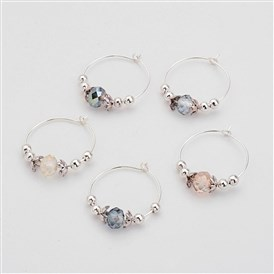 Glass Beads Wine Glass Charms, with Brass Hoop and Metal Findings, 29x26x0.8mm