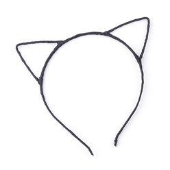 Black Hair Accessories Iron Hair Band Findings, with Polyester Ribbon, Cat, Black, 113~124mm