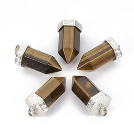 Gemstone Pointed Pendants, with Alloy Findings, Bullet