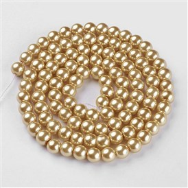 Glass Pearl Beads Strands, Pearlized, Round