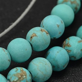 Frosted Round Natural Howlite Beads Strands, Dyed & Heated