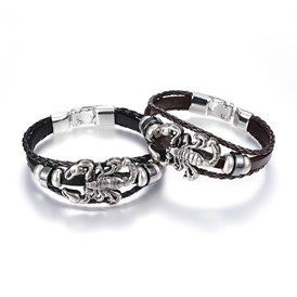 PU Leather Cord Multi-strand Bracelets, Non-magnetic Hematite, with Alloy Findings, Scorpion