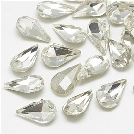 Pointed Back Glass Rhinestone Cabochons, Faceted, Drop