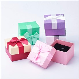 Cardboard Box, Pendant and Ring Boxes, with Bowknot Ribbon, Square