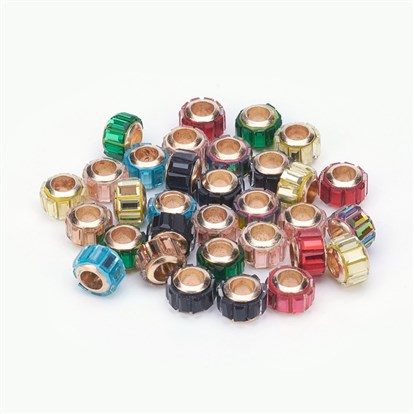 Glass European Beads, Large Hole Beads, with Brass Core, Faceted, Rondelle, Mixed Color-1