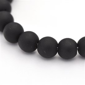 Dyed Natural Black Agate Beads Strands, Frosted, Round