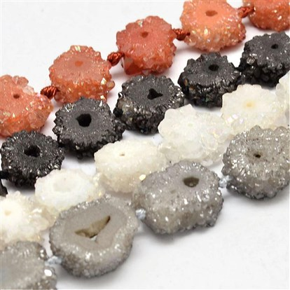 "Electroplated Natural Druzy Agate Beads Strands, 11~20x5~7mm, Hole: 1mm; about 27pcs/strand, 16.1""-1"