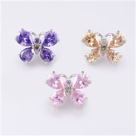 Environmental Brass Micro Pave Cubic Zirconia Jewelry Snap Buttons, Lead Free & Nickel Free & Cadmium Free, Real Platinum Plated, Butterfly