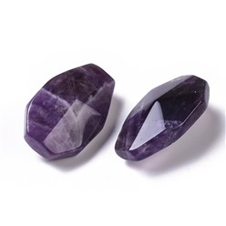 Amethyst Natural Amethyst Pendants, Facted, Teardrop, 36~37.5x23~24x14~15.5mm, Hole: 1.8mm