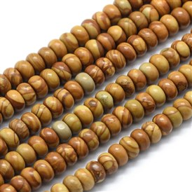 Natural Wood Lace Stone Beads Strands, Rondelle