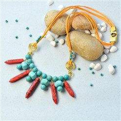 Mixed Color DIY Necklace Kits, Turquoise and Gemstone Beads Bib Necklace, Mixed Color, 30x8mm, Hole: 1mm