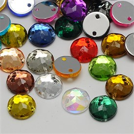 Sew on Rhinestone, Taiwan Acrylic Rhinestone, Two Holes, Garments Accessories, Faceted, Half Round/Dome