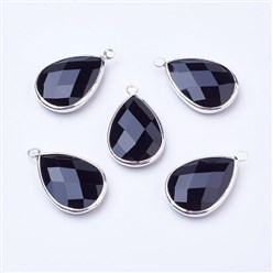 Black Silver Tone Brass Glass Drop Pendants, Faceted, Black, 18x10x5mm, Hole: 2mm