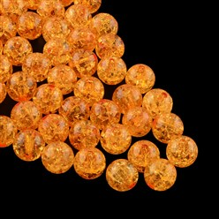 Goldenrod Transparent Crackle Acrylic Beads, Round, Goldenrod, 8mm, Hole: 2mm; about 1890pcs/500g