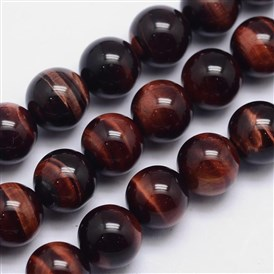 Natural Tiger Eye Round Bead Strands, Dyed & Heated, Grade AA