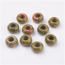 Unakite Natural & Synthetic Gemstone European Beads, Large Hole Beads, Rondelle, 14x8mm, Hole: 5mm