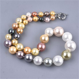 Shell Pearl Graduated Beaded Necklaces, with Brass Spring Ring Clasps