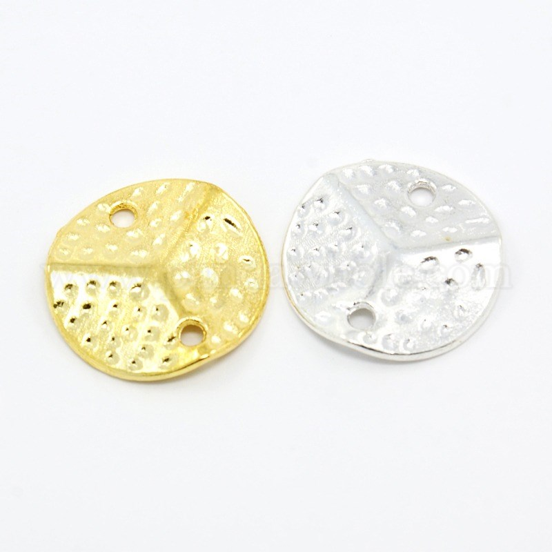 Wholesale Alloy Links Hammered Wavy Flat Round In Bulk