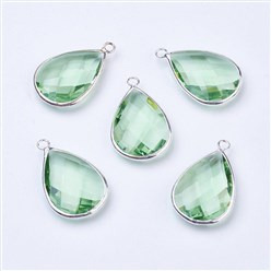 LightGreen Silver Tone Brass Glass Drop Pendants, Faceted, LightGreen, 18x10x5mm, Hole: 2mm