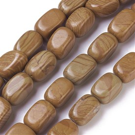 Natural Wood Lace Stone Beads Strands, Cuboid