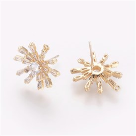 Brass Stud Earring Findings, with Cubic Zirconia, Flower, Clear