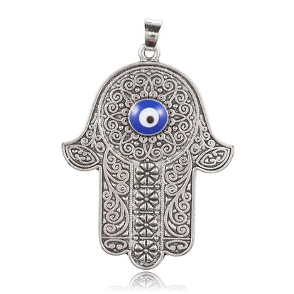 Alloy Big Pendants, with Enamel, Hamsa Hand/Hand of Fatima/Hand of Miriam with Evil Eye