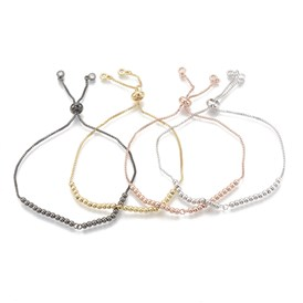 Brass Slider Bracelets, with Cubic Zirconia, Clear