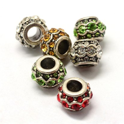Alloy Rhinestone European Beads, Large Hole Beads, Rondelle, Antique Silver-1