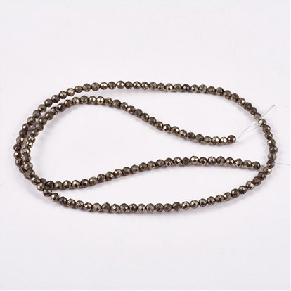 Natural Pyrite Beads Strands, Round, Faceted-1