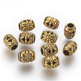 Tibetan Style Alloy Beads, Lead Free & Cadmium Free, Barrel with Flower, 8.5mm in diameter, 10.5mm thick, hole: 4.5mm