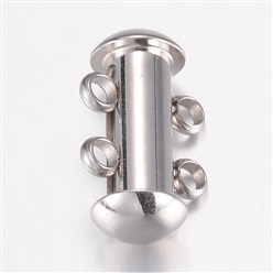 Stainless Steel Color 304 Stainless Steel Slide Lock Clasps, 2 Strands, 4 Holes, Tube, Stainless Steel Color, 15x10x6.5mm, Hole: 1.8mm