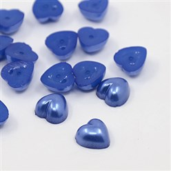 Blue Acrylic Imitation Pearl Cabochons, Dyed, Heart, Blue, 10.5x10.5x5mm; about 1500pcs/bag