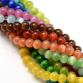 Cat Eye Beads Strands, Round, 8mm, Hole: 1.2mm; about 50pcs/strand, 15.5 inches