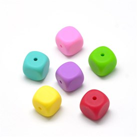 Food Grade Environmental Silicone Beads, Chewing Beads For Teethers, DIY Nursing Necklaces Making, Cube