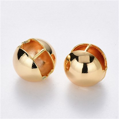 Brass Ball Clip-on Earrings, Nickel Free, Real 18K Gold Plated
