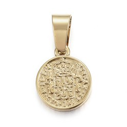 Golden 304 Stainless Steel Coin Pendants, Hispan Et Ind Rex Coin, Golden, 14x11x2mm, Hole: 5x7mm