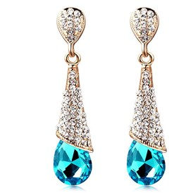 Real 18K Gold Plated Brass Rhinestone Drop Stud Earrings, 46x10mm