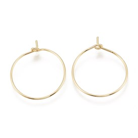 Brass Hoop Earrings, Real Gold Plated