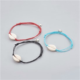 Adjustable Cowrie Shell Anklets, with Tibetan Style Alloy Starfish Charms and Chinese Waxed Cotton Cord