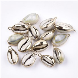 Cowrie Shell Pendants, with Brass Findings