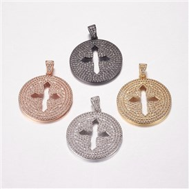 Long-Lasting Plated Brass Micro Pave Cubic Zirconia Pendants, Flat Round with Cross