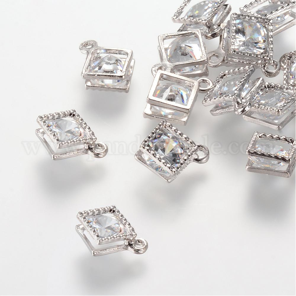 100 Pcs Light Gold Triangle Alloy Charms with Cubic Zirconia 11x9x5mm Hole 1mm