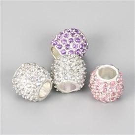 Alloy European Beads, with Rhinestones, Large Hole Beads, Rondelle, Silver