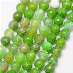 LawnGreen Natural Fire Agate Bead Strands, Round, Grade A, Faceted, Dyed & Heated, LawnGreen, 8mm, Hole: 1mm; about 47pcs/strand, 15""