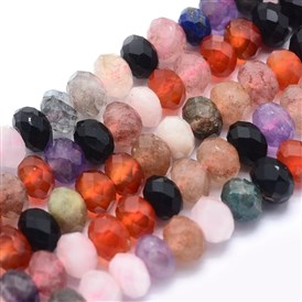 Natural Mixed Stone Beads Strands, Rondelle, Faceted