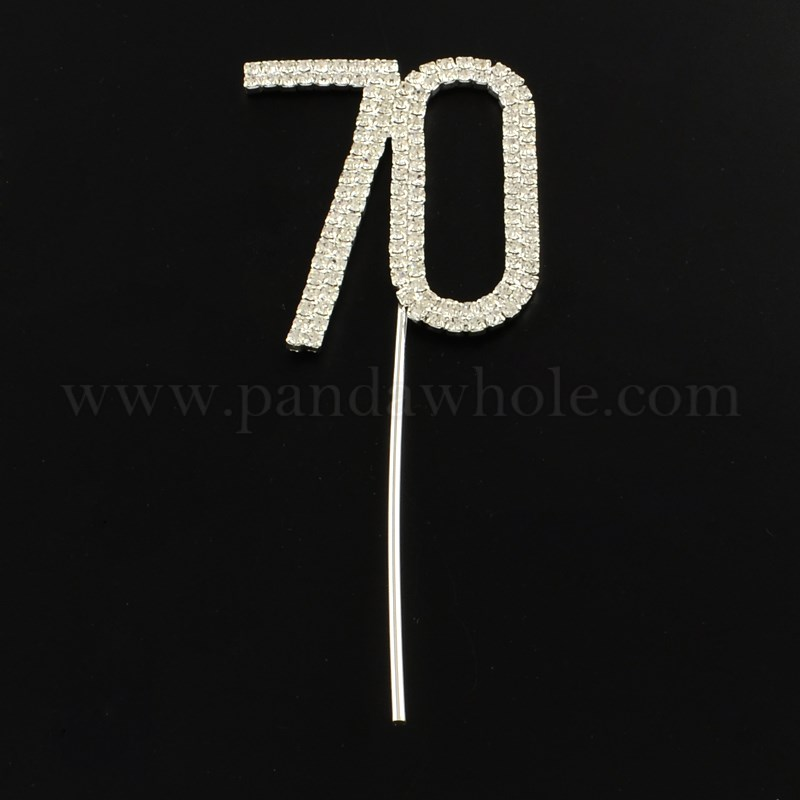 Number 70 Platinum Plated Brass Rhinestone Wedding Cake Topper For Anniversary Party Decoration 106x42x3mm