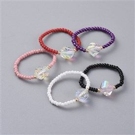 Glass Seed Beads Stretch Rings, with Faceted Electroplate K9 Glass Rhinestone Beads, Cone